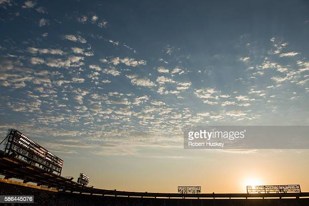 A general view of sunset before the game between the Oakland Athletics and the Los Angeles Angels of Anaheim at Angel Stadium of Anaheim on August 2...
