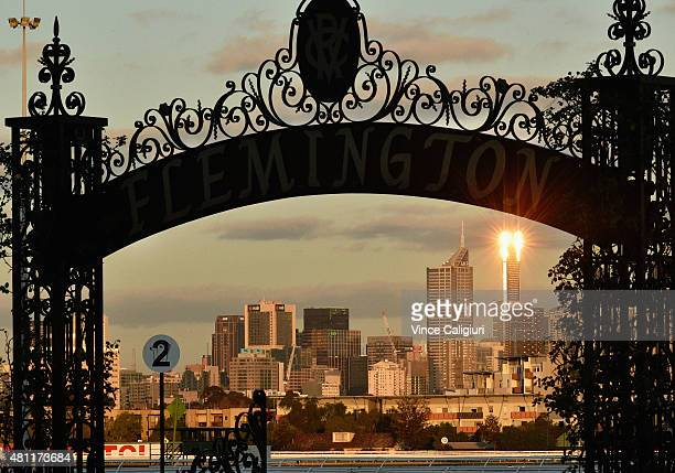General view of sunset during Melbourne Racing at Flemington Racecourse on July 18 2015 in Melbourne Australia