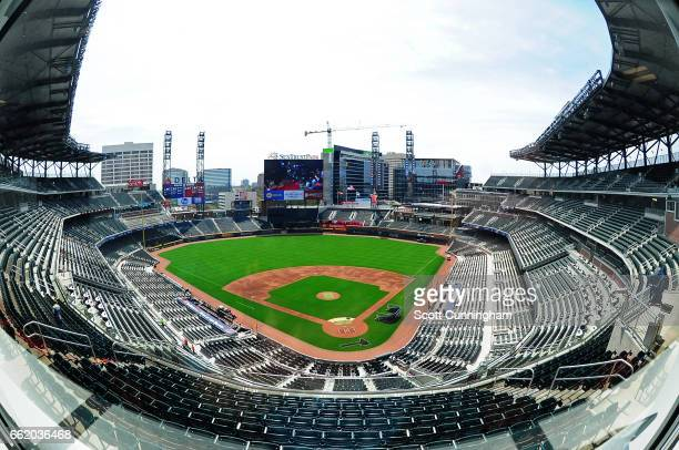 A general view of SunTrust Park before the exhibition game between the Atlanta Braves and the New York Yankees on March 31 2017 in Atlanta Georgia