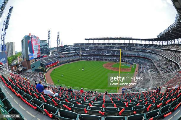 A general view of SunTrust Park during batting practice before the game between the Atlanta Braves and the San Diego Padres on April 14 2017 in...