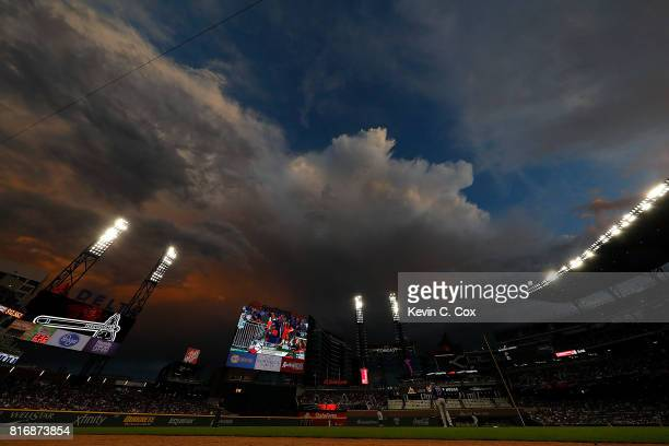 A general view of SunTrust Park during the first inning between the Atlanta Braves and the Chicago Cubs on July 17 2017 in Atlanta Georgia