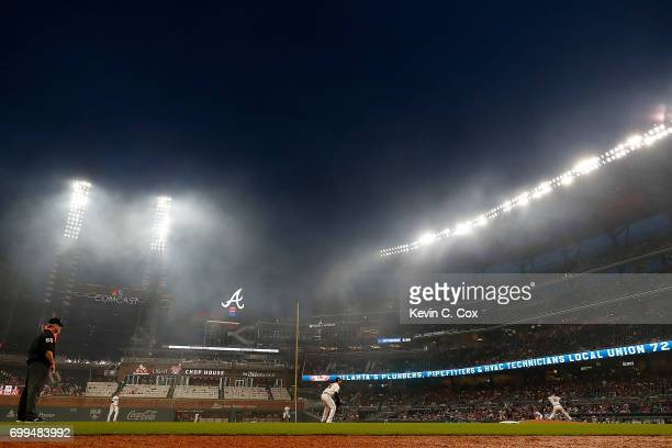 A general view of SunTrust Park during the first inning of the game between the Atlanta Braves and the San Francisco Giants on June 21 2017 in...