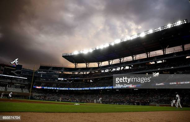 General view of SunTrust Park during the game between the Atlanta Braves and the Philadelphia Phillies at SunTrust Park on June 7 2017 in Atlanta...