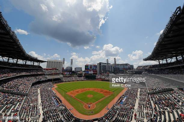 A general view of SunTrust Park during the game between the Atlanta Braves and the Chicago Cubs on July 19 2017 in Atlanta Georgia