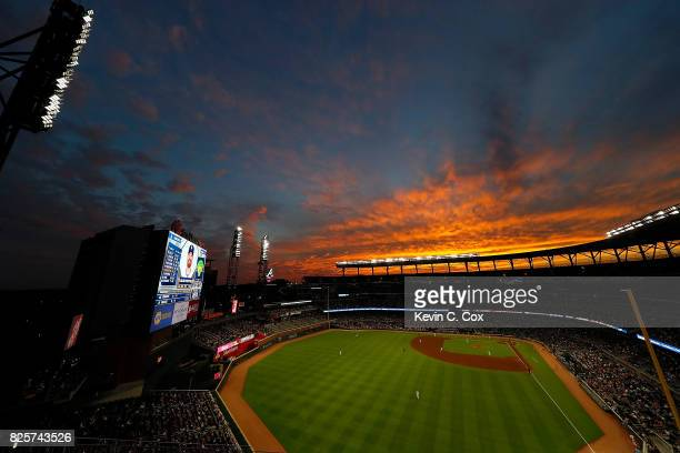 A general view of SunTrust Park during the game between the Atlanta Braves and the Los Angeles Dodgers on August 2 2017 in Atlanta Georgia