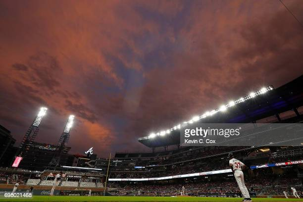 A general view of SunTrust Park during the second inning of the game between the Atlanta Braves and the San Francisco Giants on June 19 2017 in...