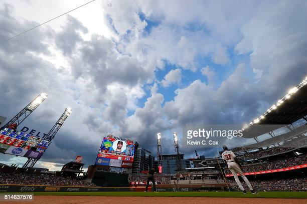 A general view of SunTrust Park in the first inning between the Atlanta Braves and the Arizona Diamondbacks on July 14 2017 in Atlanta Georgia