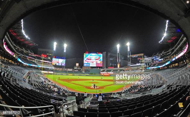 A general view of SunTrust Park where only a few hundred fans remain after a rain delay of over three hours for the game between the Atlanta Braves...