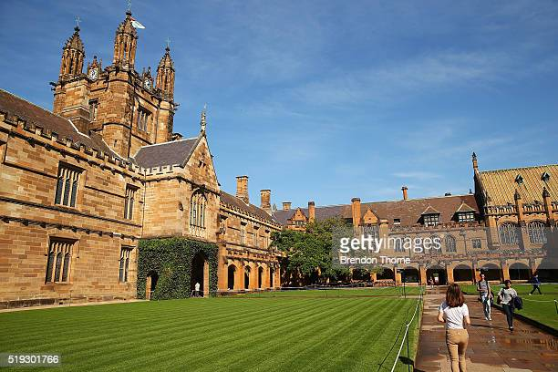 A general view of Sydney University campus on April 6 2016 in Sydney Australia Federal Education Minister Simon Birmingham confirming the Government...