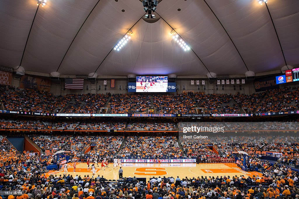 General view of Syracuse Orange basketball game against Cornell Big Red on November 8, 2013 at the Carrier Dome in Syracuse, New York.