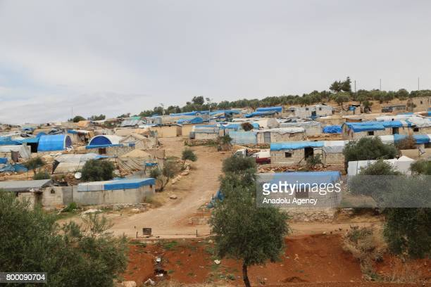 A general view of Syrians' shelters during Muslim's holy month of Ramadan in Idlib Syria on June 23 2017 Ahead of Eid al Fitr Syrian people try to...