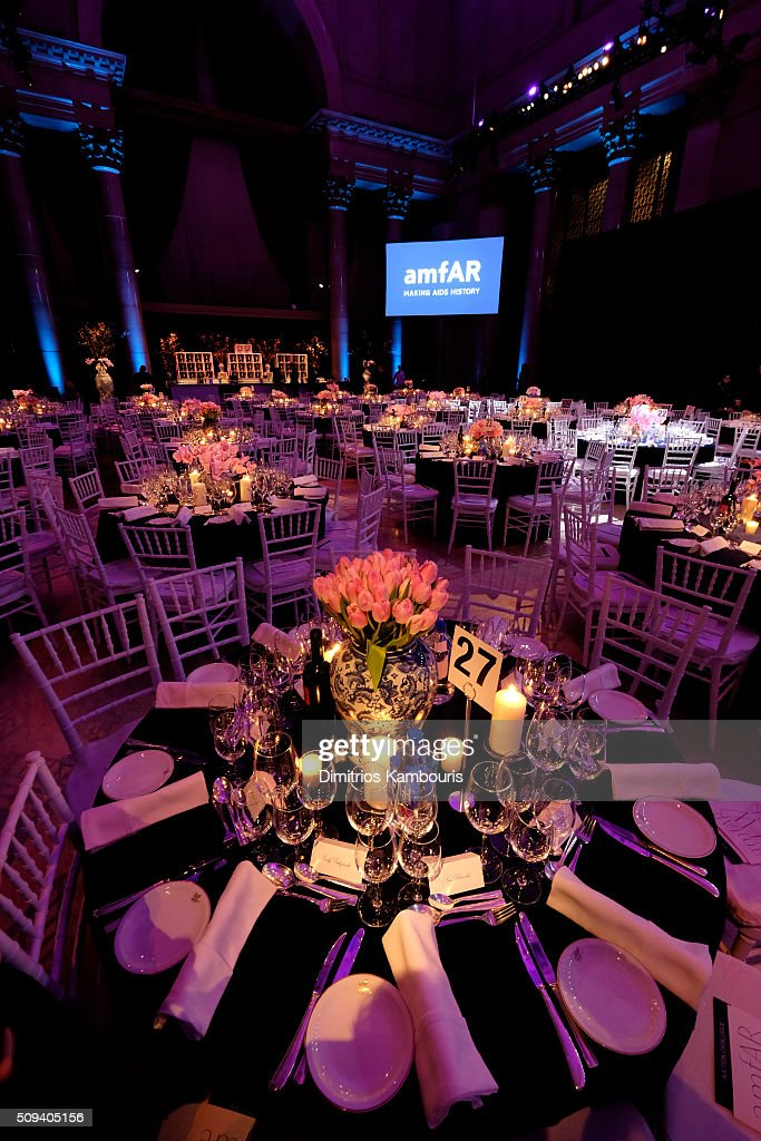 A general view of table settings at the 2016 amfAR New York Gala at Cipriani Wall Street on February 10, 2016 in New York City.