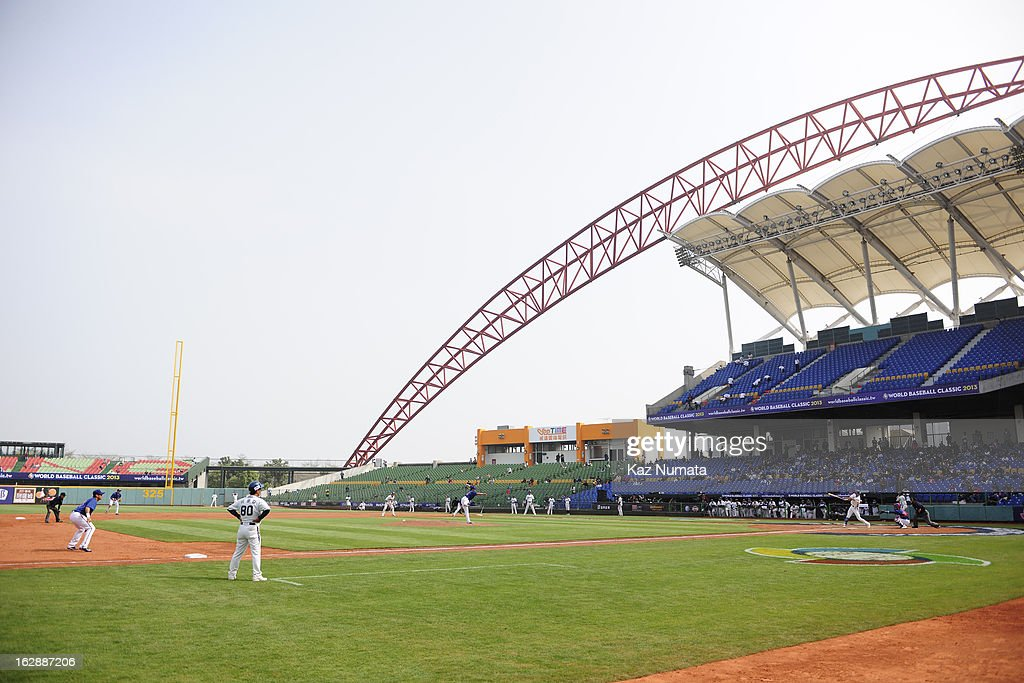 A general view of Taichung Intercontinental Baseball Stadium during the World Baseball Classic exhibition game between Team Chinese Taipei and the NC Dinos at Taichung Intercontinental Baseball Stadium on Thursday, February 28, 2013 in Taichung, Tawain.