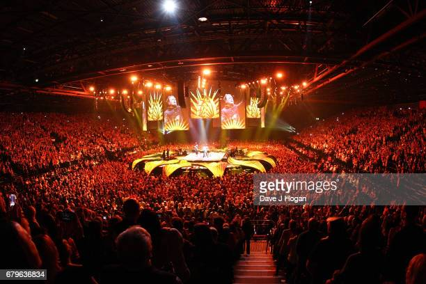 General view of Take That on the opening night of Wonderland Live 2017 at Genting Arena on May 5 2017 in Birmingham United Kingdom