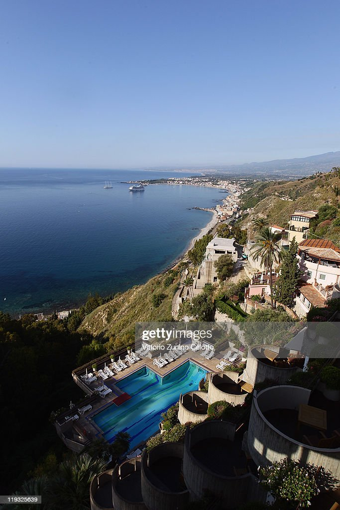 A general view of Taormina from the terrace of the Hotel Montetauro on June 11 2011 in Taormina Italy