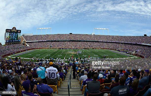 A general view of TCF Bank Stadium during the first quarter of the game between the Minnesota Vikings and the Detroit Lions on September 20 2015 in...