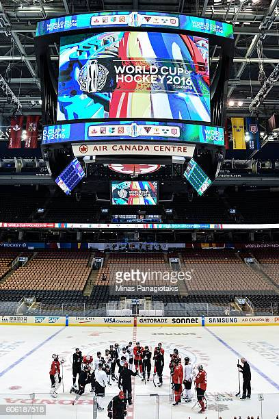 General view of Team Canada during practice at the World Cup of Hockey 2016 at Air Canada Centre on September 16 2016 in Toronto Ontario Canada