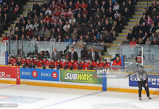 A general view of Team OHL bench and head coach Scott Walker against Team Russia during the 2014 Subway Super Series at the Peterborough Memorial...