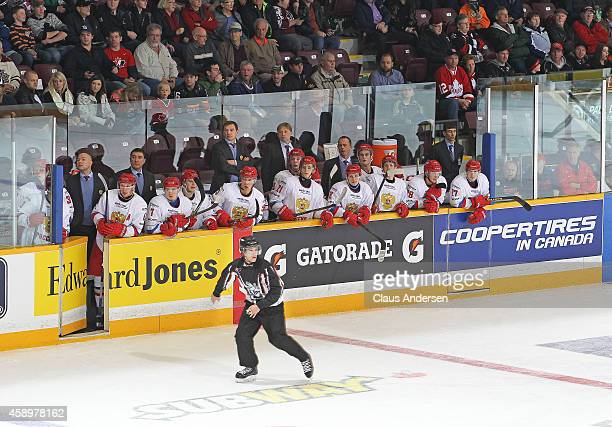 A general view of Team Russia bench against Team OHL during the 2014 Subway Super Series at the Peterborough Memorial Centre on November 13 2014 in...