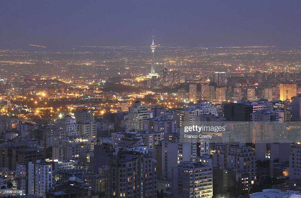 General view of Tehran with Milad Tower during sunset on August 28, 2012 in Tehran, Iran.