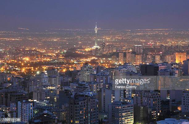 General view of Tehran with Milad Tower during sunset on August 28 2012 in Tehran Iran