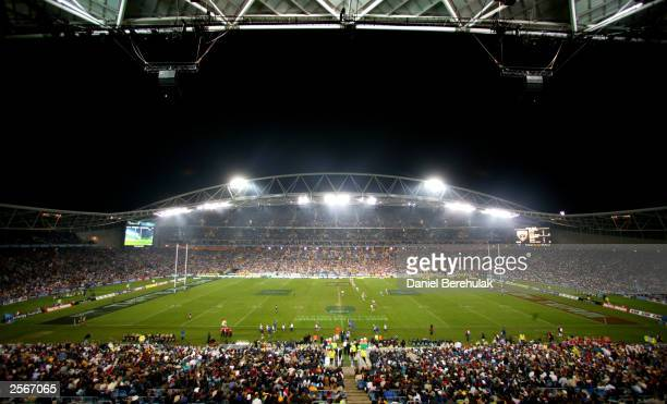 A general view of Telstra Stadium before kickoff during the NRL Grand Final between the Sydney Roosters and the Penrith Panthers at Telstra Stadium...