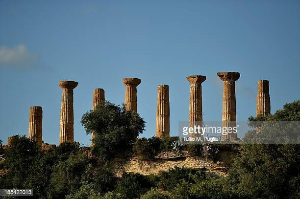 A general view of Temple of Heracles in the Valle dei Templi Park of Agrigento on October 20 2013 in Agrigento Italy Tomorrow a commemoration...