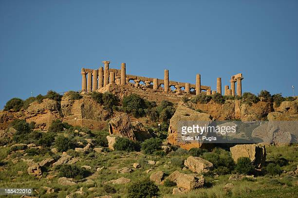 A general view of Temple of Juno in the Valle dei Templi Park of Agrigento on October 20 2013 in Agrigento Italy Tomorrow a commemoration ceremony...