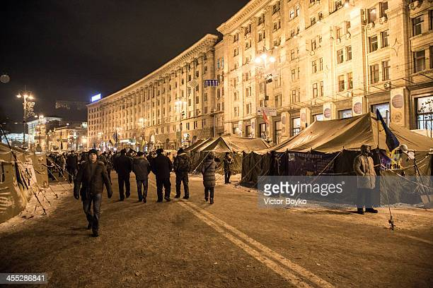 A general view of tent camp on Khreshchatyk Street near Maidan Square on December 11 2013 in Kiev Ukraine Thousands have been protesting against the...