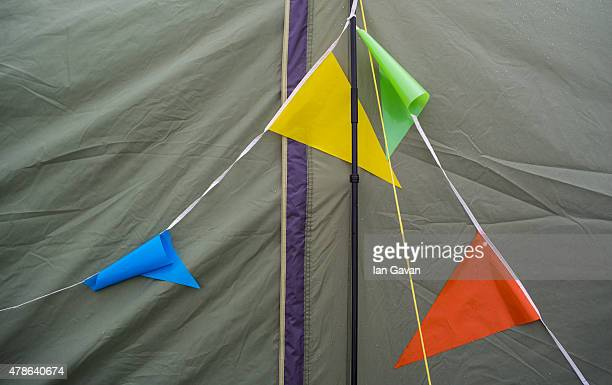 A general view of tent detail at the Glastonbury Festival at Worthy Farm Pilton on June 26 2015 in Glastonbury England Now its 45th year the festival...