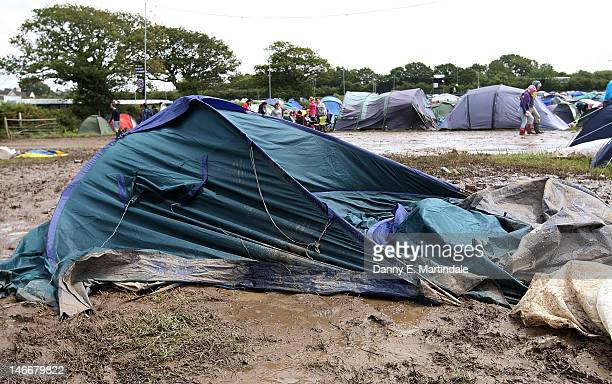 General view of tents that had collapsed due to the weather at the Isle Of Wight Festival 2012 at Seaclose Park on June 22 2012 in Newport Isle of...