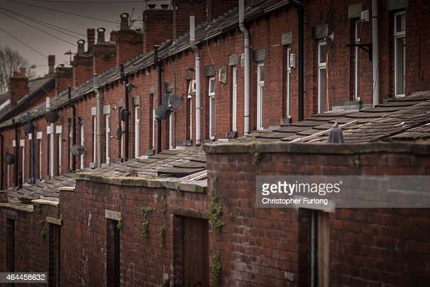 A general view of terraced houses and the back alleys of homes in Bolton on February 9 2015 in Bolton United Kingdom As the United Kingdom prepares...