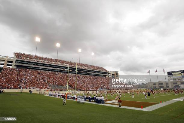 General view of Texas Memorial Stadium during the game between the University of Texas at Austin Longhorns and the University of New Mexico Aggies on...