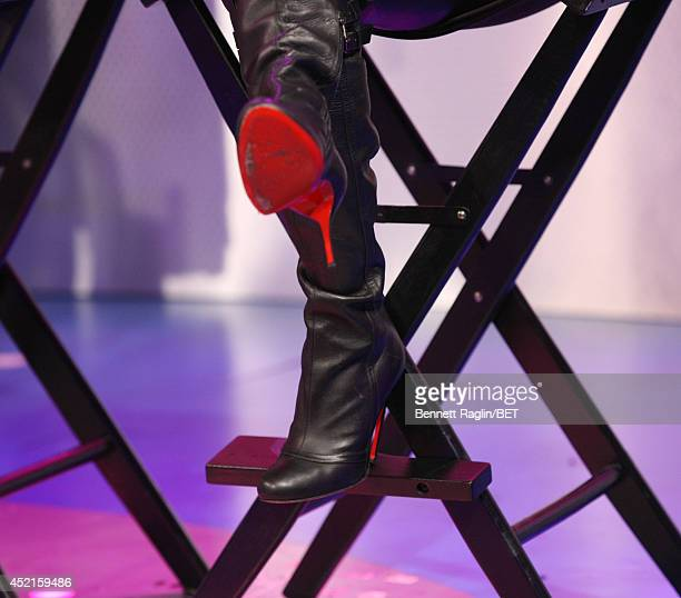 A general view of Teyana Taylor's shoes during 106 Park at Bet studio on July 14 2014 in New York City