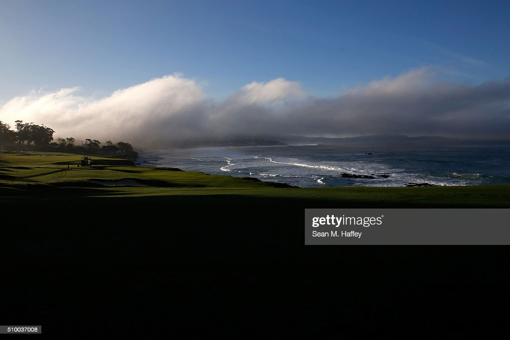 A general view of the 10th hole during round three of the AT&T Pebble Beach National Pro-Am at the Pebble Beach Golf Links on February 13, 2016 in Pebble Beach, California.