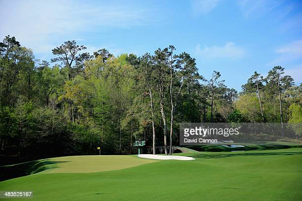 A general view of the 11th and 12th holes during a practice round prior to the start of the 2014 Masters Tournament at Augusta National Golf Club on...