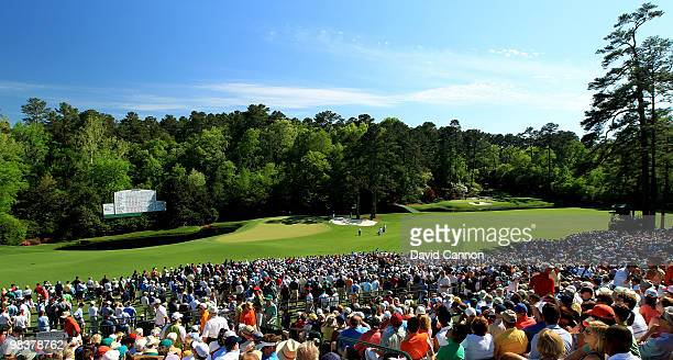 A general view of the 11th green and 12th hole is seen during the third round of the 2010 Masters Tournament at Augusta National Golf Club on April...