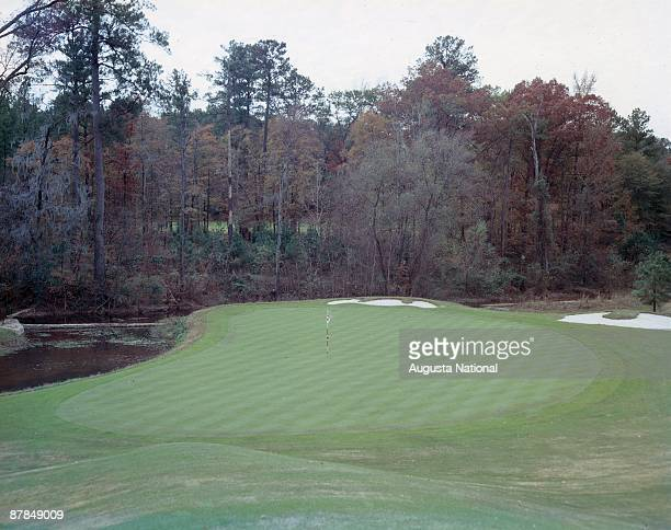 A general view of the 11th green at Augusta National Golf Club in December 1957 in Augusta Georgia