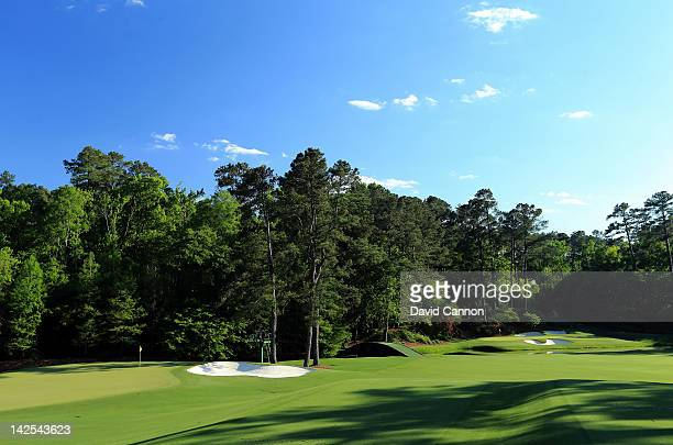 A general view of the 12th hole and the 11th green during the second round of the 2012 Masters Tournament at Augusta National Golf Club on April 6...