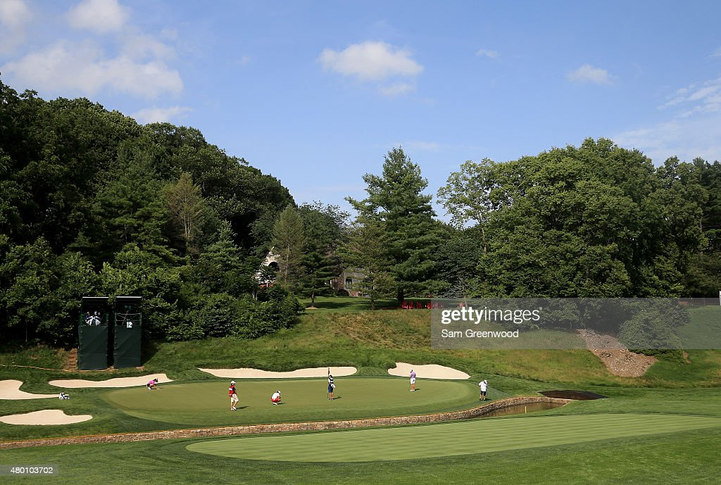 A general view of the 12th hole during the first round of the US Women's Open at Lancaster Country Club on July 9 2015 in Lancaster Pennsylvania