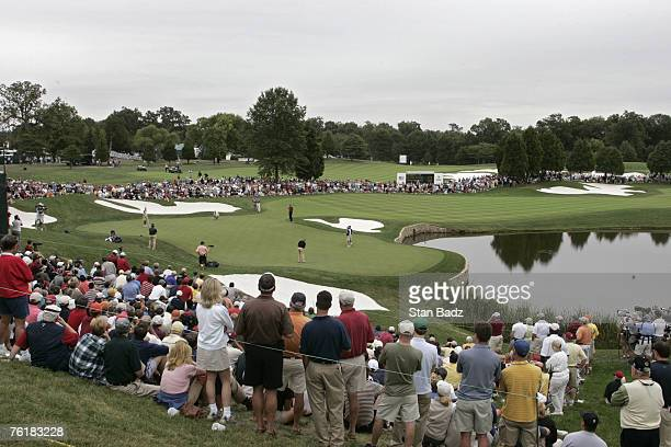 A general view of the 12th hole during the fourball matches in the third round of The Presidents Cup at Robert Trent Jones Golf Club in Prince...