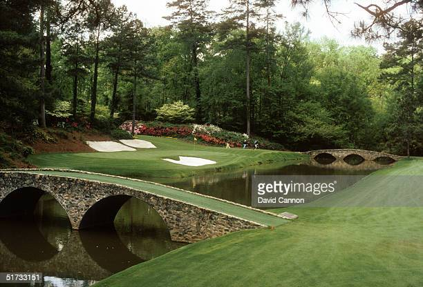 General view of the 12th Hole Par 3 taken at the Augusta National Golf Club during the US Masters tournament on April 11 1996 in Augusta Georgia USA