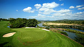 A general view of the 13th green which over looks the Kruger National Park and the Crocodile River during a practise round for the Alfred Dunhill...