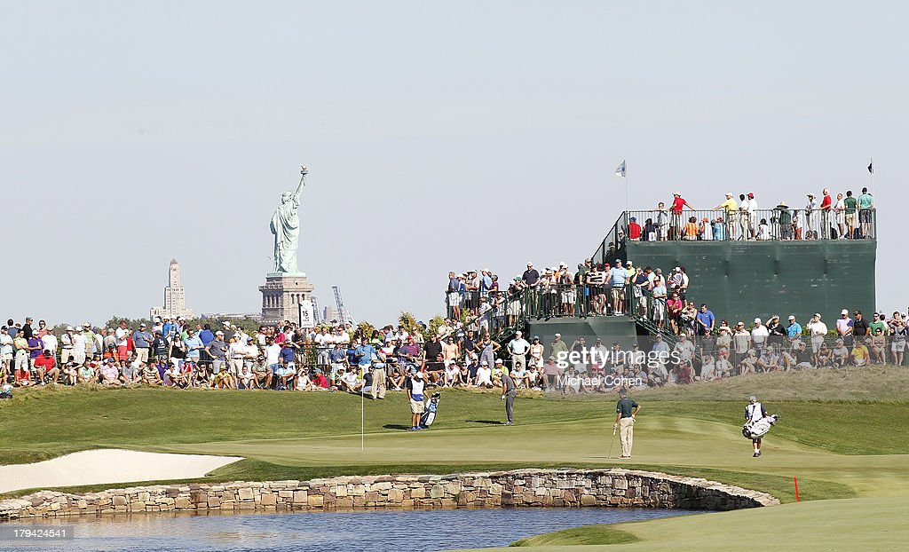 A general view of the 13th hole during the fourth round of The Barclays held at Liberty National Golf Club on August 25 2013 in Jersey City New Jersey