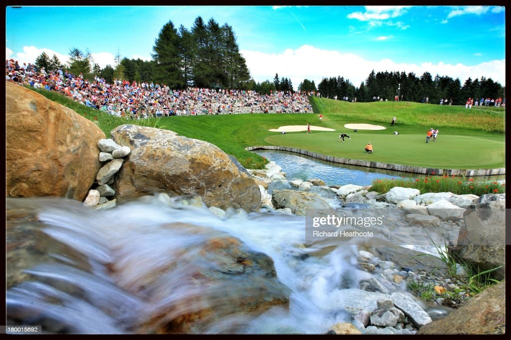 A general view of the 13th hole during the second round of the Omega European Masters at the Crans-sur-Sierre Golf Club on September 6, 2013 in Crans, Switzerland.