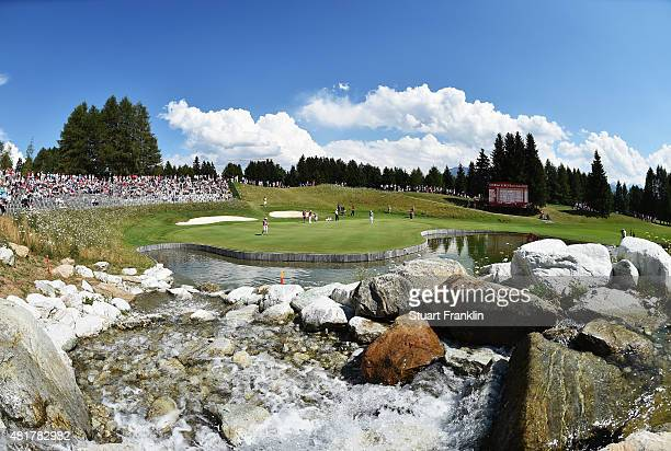A general view of the 13th hole during the second round of the Omega European Masters at CranssurSierre Golf Club on July 24 2015 in CransMontana...