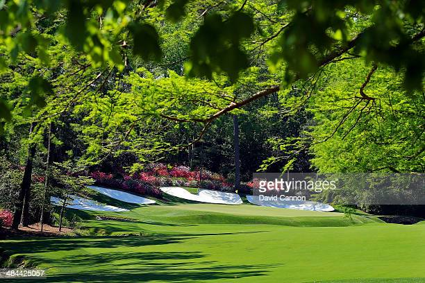 A general view of the 13th hole during the third round of the 2014 Masters Tournament at Augusta National Golf Club on April 12 2014 in Augusta...