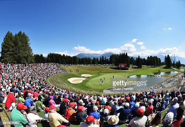 A general view of the 13th hole during the third round of the Omega European Masters at CranssurSierre Golf Club on July 25 2015 in CransMontana...