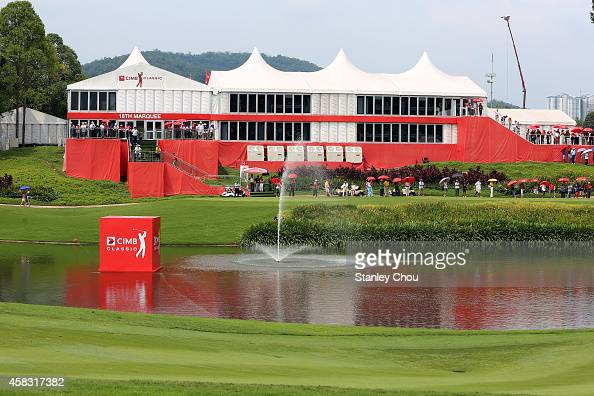 General view of the 14th hole and the gallery during day four of the 2014 CIMB Classic at Kuala Lumpur Golf Country Club on November 2 2014 in Kuala...