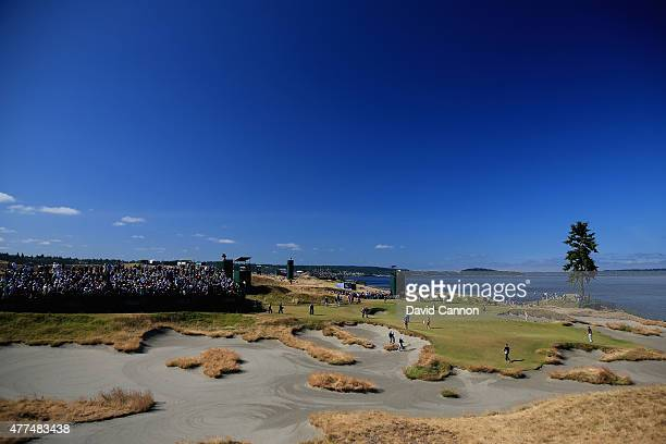 A general view of the 15th green is seen during a practice round prior to the start of the 115th US Open Championship at Chambers Bay on June 17 2015...